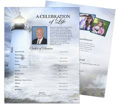 one page flyer template memorial flyer sheet template designs lighthouse one page funeral
