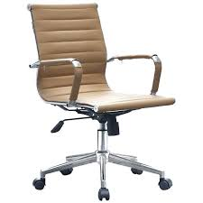 Eames ribbed chair tan office Furniture Eames Tan Modern Ergonomic Mid Back Leather Executive Office Chair Ribbed Swivel Tilt Conference Eames Brickell Collection Leather Office Chairs Tan Chair Executive Doctorencasa
