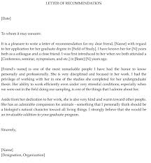 graduate remendation letter
