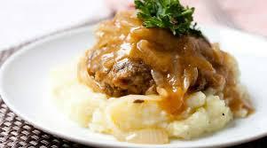 homemade salisbury steak with onion