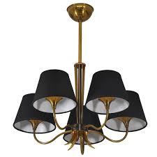 vintage hanging lamp in glass and brass edition maison jansen 1950s