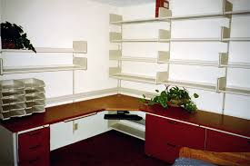 red black home office. Beautiful Brown Wooden L Shaped Desk With Red Drawers Also Wall Mounted Black Home Office D