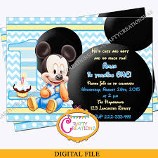mickey mouse party invitation baby mickey mouse birthday invitation baby mickey first birthday party invite baby mickey invite