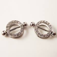2 piece 14g full crystal round ring bar y shield rings body piercing jewelry love barbell women gift in body jewelry from jewelry