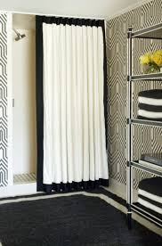 view in gallery shower curtain with a ceiling track system by tobi fairley