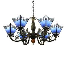 tiffany 6 light chandelier in mosaic style with light dark blue glass shade