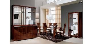 capri brown lacquer wood italian dining room set