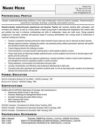 Teacher Resume Sample Free Resume Template Professional Teacher