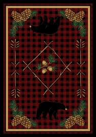 moose area rugs cabin rustic rug western themed country style round pine cone for elk
