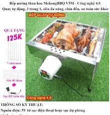 Bếp nướng than hoa Tự Xoay V5S lò quay vịt lò nướng lò nướng than: Siêu đa  năng thơm ngon chín đều an toàn sức khỏe inox bền đẹp [Bếp nướng than