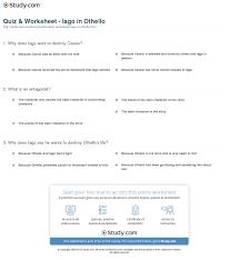 Quiz Worksheet Iago In Othello Study Com