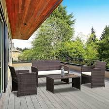 garden patio furniture. Costway 4 PCS Outdoor Patio Rattan Wicker Furniture Set Table Sofa Cushioned Garden Deck M