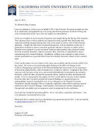 economics letter of recommendation