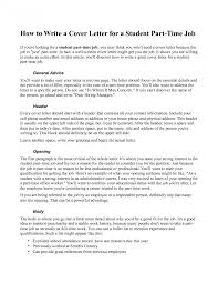 Cover Letter For Part Time Job Student Fitted Visualize Help Write