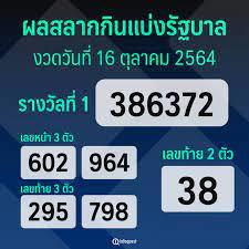 ผลสลากกินแบ่งรัฐบาล งวดประจำวันที่ 16 ตุลาคม 2564 : อินโฟเควสท์