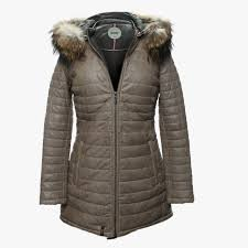 popping quilted beige leather fur trim jacket