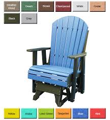 LuxCraft Poly Rollback Plain Style Glider Chair Swingsets Outdoor Glider Furniture