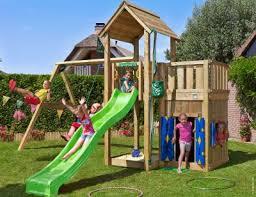 kids wooden climbing frame mansion playhouse 2 swing