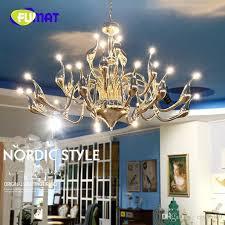 2018 fumat swan chandeliers art deco european candle crystal led ceiling bedroom living room modern decoration g4 24 lighting from crystalk9