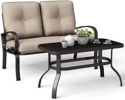 giantex pcs patio loveseat with table
