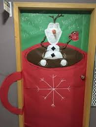 Christmas door decoration for a classroom. Olaf in a mug of hot chocolate.  My