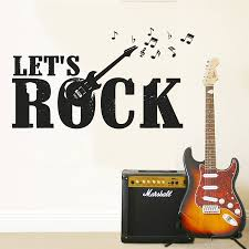 <b>Music Wall Sticker</b> Lets Rock Guitar Electro Wall Decal Music Notes ...