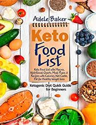 Food And Its Nutrients Chart Keto Food List Ketogenic Diet Quick Guide For Beginners Keto Food List With Macros Nutritional Charts Meal Plans Recipes With Calories Net Carbs