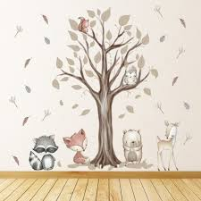 forest friends autumn tree nursery wall