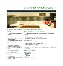 Kitchen Renovation List Sample Renovation Checklist Template 11 Free Documents In Pdf