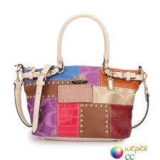 Coach Holiday Kelsey Signature Medium Ivory Multi Satchels In