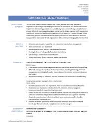Construction Project Manager Cv Template Management Jobs Pic Modern