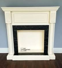painted faux fireplace mantel diy and surround makeover