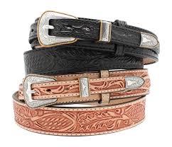 1 1 2 oak leaf leather ranger belt with silver image 0