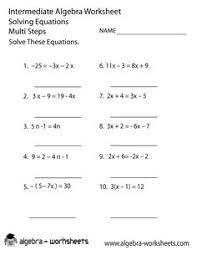 pre algebra practice worksheet my creative math muscle  solve equations intermediate algebra png 612×792