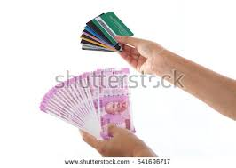 indian hand fan clipart. cashless economy- indian rupee notes and debit card hand fan clipart c