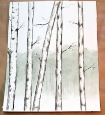 how to simply paint birch trees with watercolors