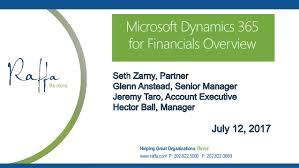 2017 07-13 Microsoft Dynamics 365 for Financials
