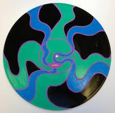 original acrylic painting on vinyl record.