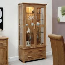 pine wood glass door display cabinet
