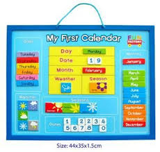 New Wooden Magnetic Childrens My First Calendar Weather