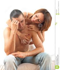 Men And Women In Bedroom Sad Man With A Problem In Bed Woman Consoling Him In Bedroom