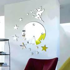 mirror stars flying fairy tinker bell with stars round mirror wall art wall decal starburst mirror set