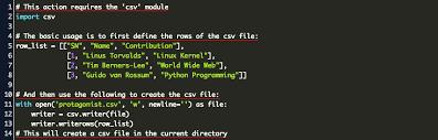 create csv file python code exle