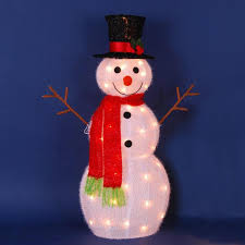 22 lighted 3 d snowman with top hat and twig arms outdoor christmas yard art decoration walmart