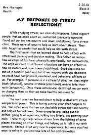 org my response to stress by nysatl student 5 my response to stress part a