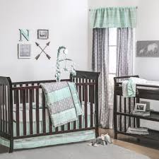 the peanut shell 4 piece baby crib bedding set mint green and grey arrow tribal stripe 100 cotton quilt dust ruffle fitted sheet