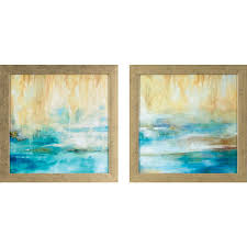 turquoise waters printed framed wall art  on framed wall art set of 2 with decor therapy 13 75 in x 13 75 in turquoise waters printed framed