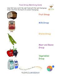 Small Picture Printable Match the Foods to the Food Group Worksheet
