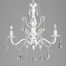 contemporary 4 light white iron and crystal chandelier