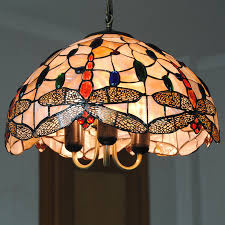 chandelier lighting lampe vintage stained glass hanging light living room dragonfly pattern lamp shade 16 pl809 in pendant lights from